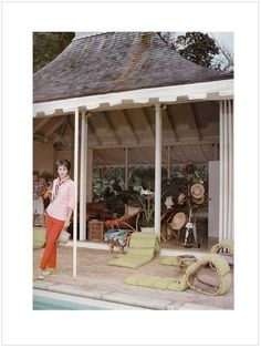 "My style icon, Babe Paley, photographed in the 1950's by Slim Arons.  She was married to CBS President William Paley and the pool house in the photo was part of the their villa ""Round Hill"" in Jamacia."