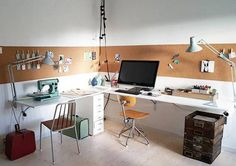 70 Genius Adn Simple Workspace Design To Apply On Your Home 43 - Home Decor & Design Workspace Design, Home Office Design, Home Office Decor, Home Decor, Office Workspace, Small Workspace, Office Designs, Home Office Inspiration, Workspace Inspiration