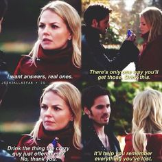 Hook persuading Cursed Emma to drink the potion. (New York City Serenade)