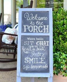 Chalkboard A-Frame Porch Rules Sign