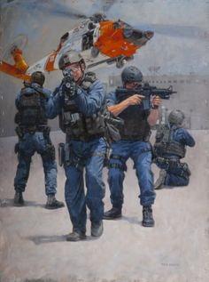 A Maritime Safety and Security Team (MSST) is ready for a confrontation, and the viewer of this new painting by Ken Smith is happy to witne. Coast Gaurd, Coast Guard Rescue, Us Coast Guard, Military Art, Military History, Military Uniforms, Military Costumes, Coast Guard Helicopter, Military Drawings