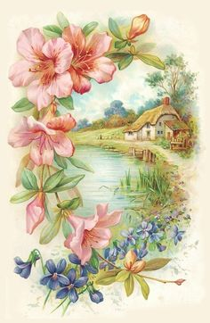 "$2.99 - Waterslide Decals (4Pcs 2.5""X3.5""Each) House By A Lakeflonz 0714 Vintage Flowers #ebay #Home & Garden"