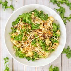This is a simple and light pasta dish that is quick, but filled with  flavor. It's both vegan and gluten-free, making it a friendly option for  all diets!  Ingredients (serves 2)      * 2-3 servings brown rice spaghetti (enough portion for 2 people)     * 2 cups cauliflower florets, broken into pieces     * 1 can chickpeas, rinsed and drained     * 3 tablespoons extra-virgin olive oil, divided     * 1/2 cup arugula     * Juice of 2 small lemons     * Black pepper, to taste  1. Preheat…