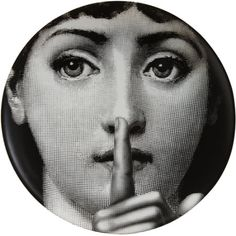 Theme & Variations Decorative Plate #334 (Woman With Finger on Lips) - Fornasetti - - - Surrealism