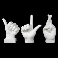 Urban Trends Fiberstone Hand Sign - Set of 3 White - 12044-AST