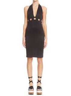 Black Grommet Halter Dress