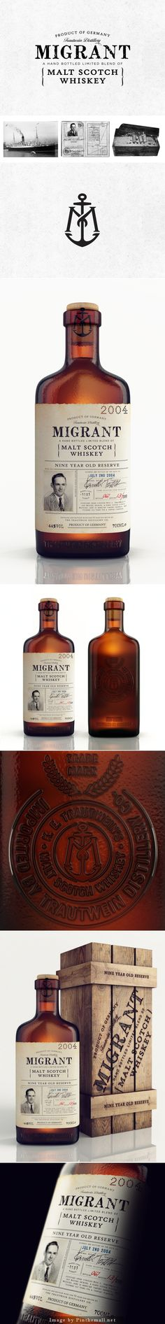 Migrant #Whiskey, Creative Agency: Chad Michael Studio - http://www.packagingoftheworld.com/2014/10/migrant-whiskey.html