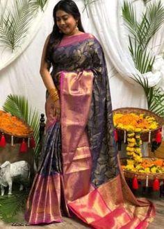 Sarees Online | Buy Sarees Online |@ ibuyfromindia.com Navy Blue Saree, Pink Saree, Latest Silk Sarees, Art Silk Sarees, Silk Sarees With Price, Banarsi Saree, Traditional Sarees, Traditional Design, Silk Sarees Online