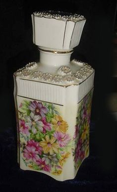 Lovely Porcelain Perfume or cologne Bottle -H.P. Floral Designs -Large Size