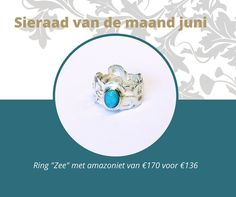 Ring Zilver met amazoniet. http://juweelontwerpster.nl/sieraad-van-de-maand/sieraad-maand-juni/