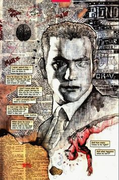 """David Mack art from """"Daredevil: Wake Up"""" mixed great use of text as noise Textiles Sketchbook, Gcse Art Sketchbook, Sketchbooks, A Level Art Sketchbook Layout, Sketching, Mixed Media Photography, Creative Photography, Photography Sketchbook, Photo Lovers"""