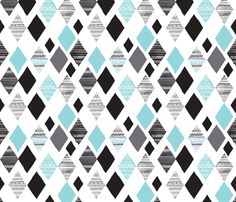 Aztec winter blue geometric diamond illustration print winter wonderland themed fabric by Little Smilemakers Studio on Spoonflower - custom fabric & wallpaper inspiration