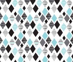 Aztec winter blue geometric diamond illustration print winter wonderland themed fabric by Little Smilemakers Studio on Spoonflower - custom fabric & wallpaper inspiration