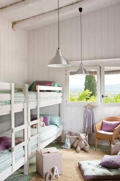 very simple. Looks like two bunk beds placed next to each other and not a built in. mommo design: BUNKS FOR GIRLS