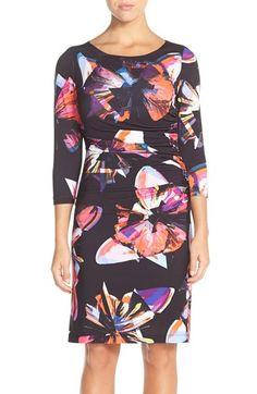 Tahari butterfly print jersey sheath dress petite