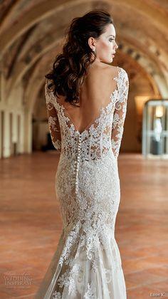 eddy k couture 2017 bridal long sleeves off the shoulder deep plunging v neck full embellishment gorgeous elegant lace fit and flare wedding dress v back chapel train (ct180) zbv