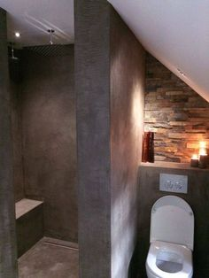 Best Pic Rustic Bathroom layout Strategies Any rustic bathroom is generally characterised through interesting eccentricities and also the utili Loft Bathroom, Bathroom Toilets, Bathroom Layout, Bathroom Interior, Small Bathroom, Master Bathroom, Brick Bathroom, Bathroom Designs, Bad Inspiration