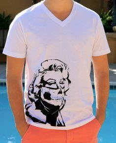 Marilyn Monroe w/ Gangsta Skull Bandana // Badass Marilyn Monroe Graphic Tee // Men's Screenprint T Shirt   by SargentIllustration, $35.00