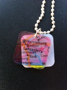 Map necklace from Lancaster, PA