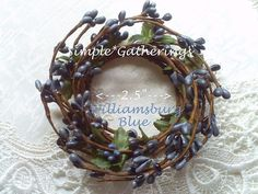"""Pip Berry Candle Ring WILLIAMSBURG BLUE ~ 2.25"""" Inner Diameter, Cottage, Country #unbranded #primitivecountrycottage"""