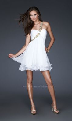 One Shoulder Short La Femme Dress LF-16060