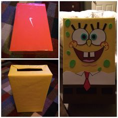 Spongebob Valentines Box.   Shoe box, bulletin board paper, card stock, foam sheets and markers. A little knowledge in drawing is something to have too. Good Luck!