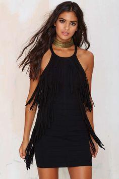 Bandit Fringe Dress - Black