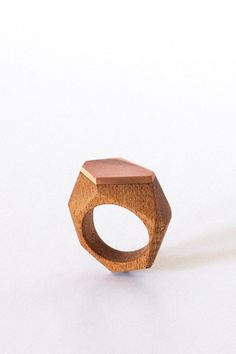 Hand Carved Wood Facet Ring, African Mahogany with Copper Facet - Zeal Living