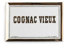 "9"" Cognac Vieux Tray, White"