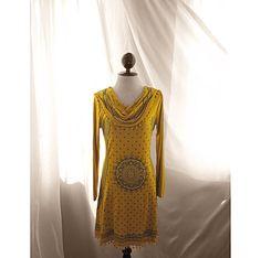 Bohemian Mustard Yellow Moroccan Tribal Gypsy Hippie Fall Autumn Pom Secret Garden Peasant Grunge Eco Chic Rugged Long Sleeves Lotr Dress