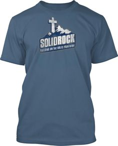 Solid Rock Church Shirt Design works great for summer camps, winter camps, mens retreats too!  Work with us and we will help you customize perfectly for your next event!  This currently shown on indigo blue shirts.  Solid Rock Church Shirt Design #792