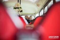 Wedding day fun on vintage bus in Northumberland