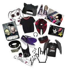 """""""Emo back in 2009"""" by x666x999x ❤ liked on Polyvore featuring Converse, WithChic, Vans, Dsquared2 and Alexander McQueen"""