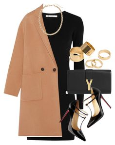 """Style #9528"" by vany-alvarado ❤ liked on Polyvore featuring T By Alexander Wang, Yves Saint Laurent, Theory, Christian Louboutin, H&M and Pieces"
