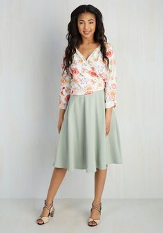 Just This Sway Midi Skirt in Ivory