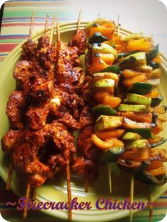 Firecracker Chicken and Chayote Skewers - Hispanic Kitchen, sounds delish Grilling Recipes, Cooking Recipes, Healthy Recipes, Campfire Recipes, Mexican Food Recipes, Dinner Recipes, My Favorite Food, Favorite Recipes, Firecracker Chicken