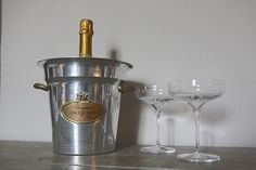 French Vintage Champagne Bucket, Jacquart Reims, Ice Cooler by RueVertdegris on Etsy