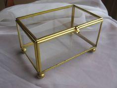 Nice Brass Glass Display Curio Trinket Rectangular Box Ball Feet X X Glass Boxes, Tin, Decorative Boxes, Brass, Display, Cabinet, Ebay, Vintage, Floor Space