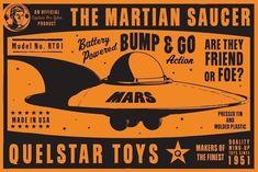 East Urban Home 'Quelstar Mars Saucer' Graphic Art Print Format: Flat Black Metal Framed Paper, Size: H x W x D Canvas Art Prints, Framed Prints, Big Canvas, Framed Canvas, The Masterpiece, Tin Toys, The Martian, Artist Canvas, Surf Shop