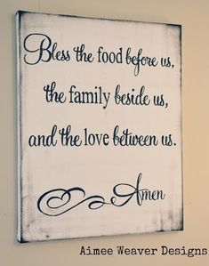 "Canvas Sign ""Bless the food before us"" I think I pinned this before but I love this!"