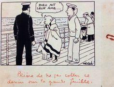 Hergé,dernière case de Tintin chez les Arumbayas (titre provisoire) dans le journal Cœur Vaillants a la place de la case avec les diablotins refusée