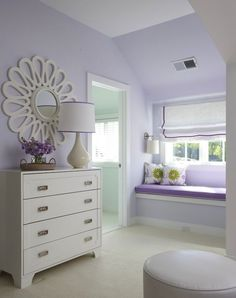 Suzie: Lynn Morgan Design - Lilac girl's bedroom, Global Views Flower Mirror - White, white ...