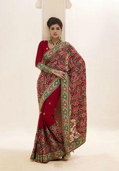 USD 52.4 Maroon Resham Work Bridal Saree  32442