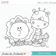 OFF Winter friends Stamp - personal and commercial use - Lion and Giraffe line art, Best Friends graphic, digital clip art - Colouring Pages, Adult Coloring Pages, Coloring Sheets, Coloring Books, Cartoon Pics, Cartoon Drawings, Cute Drawings, Painting For Kids, Drawing For Kids