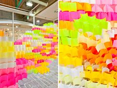 Post-it note art installation.