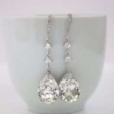 Wedding Earrings Bridal Earrings Silver with by poetryjewelry, $42.00