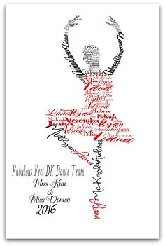 Ballerina Personalized Multiple Names Print, Ballet Teacher Gift, Dance Art, 8x10 or 11x14 Print. Make your print personal with the names of all of your dancers. This ballerina name art would make a perfect Dance teacher gift, recital gift, or girl's room decor. Add the Studio Name, Teacher Name and year. Customize with your favorite color tutu and shoes! NOTE: Color display may vary due to differences in monitor settings. LISTING IS FOR: (1) Art Print - 8x10 or 11x14 (does not come with...