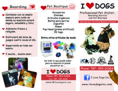 """Brochures 8.5"""" x 11"""" Trifold I love Dogs, Guaynabo, Puerto Rico."""