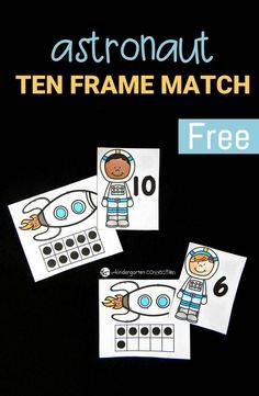 Explore numbers and ten frames with this fun and free astronaut ten frame match Perfect for PreK and Kindergarten math Space Preschool, Space Activities, Preschool Math, Ten Frame Activities, Math For Kids, Fun Math, Math Games, Math Math, Counting Games