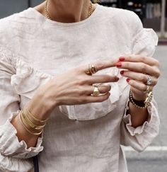 Incredibly jewelry overlay, minimalist jewelry, ruffled top, red nails, my . - Women's Jewelry and Accessories-Women Fashion Gold Jewelry, Jewelery, Jewelry Accessories, Women Jewelry, Fine Jewelry, Dainty Jewelry, Jewelry Box, Jewelry Rings, Quartz Jewelry